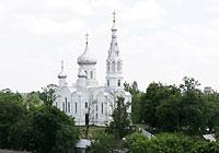Горад з вышыні Камянецкай вежы. Свята-Сімяонаўская царква