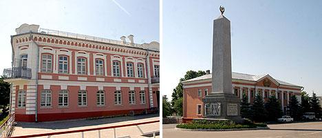Дом купца Наума Долгина и 18-метровый обелиск в честь героев-освободителей города Лоева