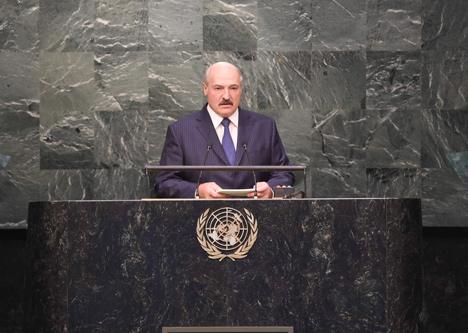 Belarus President Alexander Lukashenko at the plenary meeting of the 2015 UN Sustainable Development Summit
