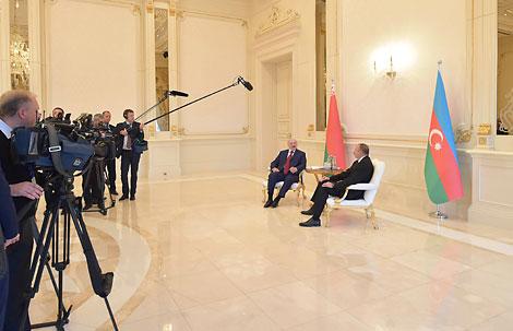 Belarus President Alexander Lukashenko and Azerbaijani President Ilham Aliyev