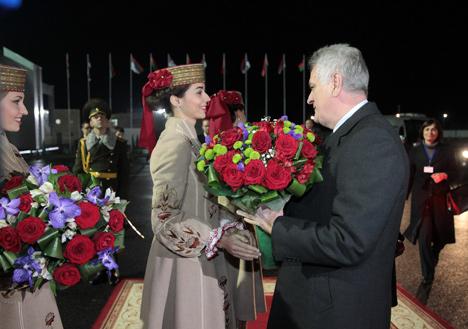 Serbia President arrives in Belarus on official visit