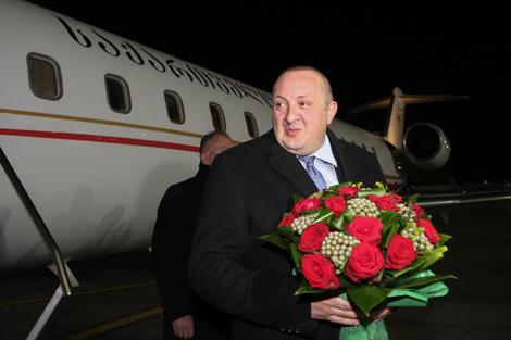 Georgia president arrives in Belarus on official visit