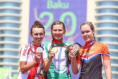 Белорусская велосипедистка Елена Омелюсик завоевала золото в групповой гонке на Европейских играх