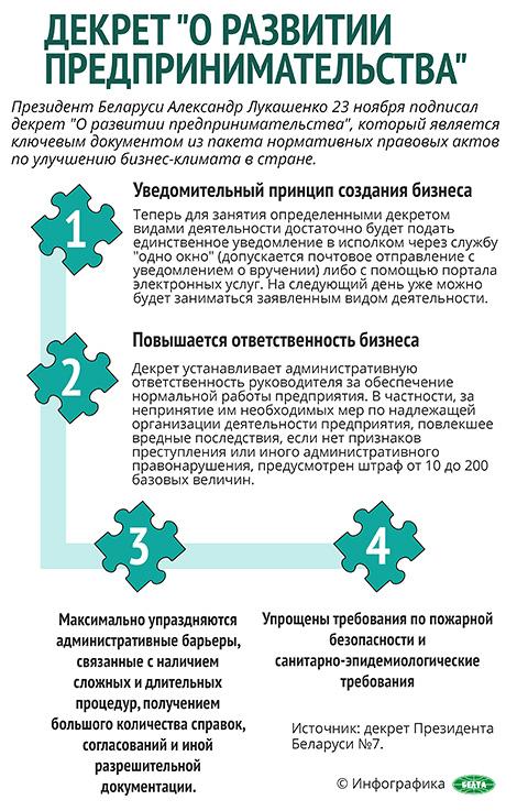 """Декрет № 7 """"О развитии предпринимательства"""""""