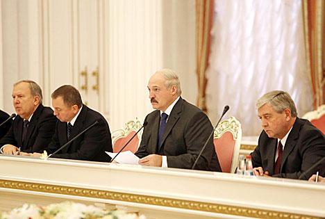 Встреча Александра Лукашенко с главой Республики Карелия Российской Федерации Александром Худилайненом