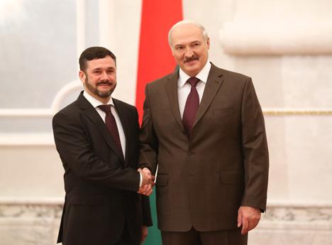 Александр Лукашенко принял верительные грамоты Чрезвычайного и Полномочного Посла Литвы в Беларуси Андрюса Пулокаса