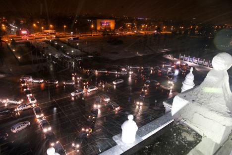 New Year car flashmob at Minsk Tractor Works