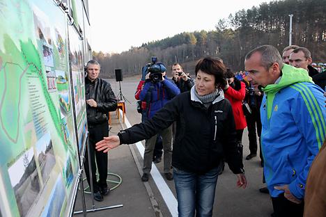 IBU officials visiting the biathlon center near Gorodok