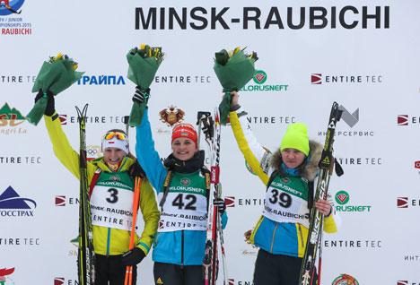 Winners of the 12.5km Junior Women Individual event