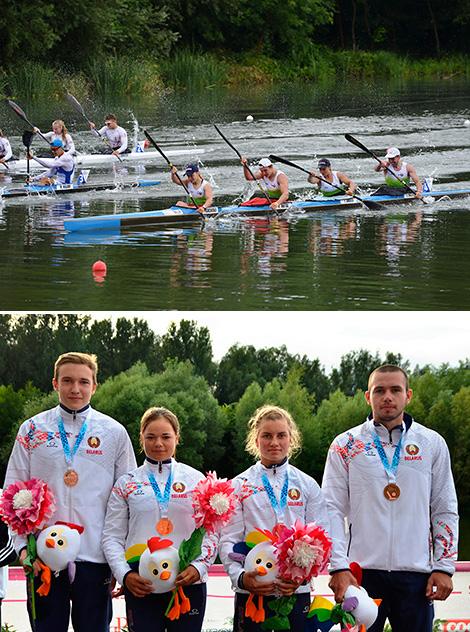 Anna Pashchenko, Irina Shkred, Maksim Khutsky and Ilya Kozlovsky claimed the Mixed K4-500m bronze