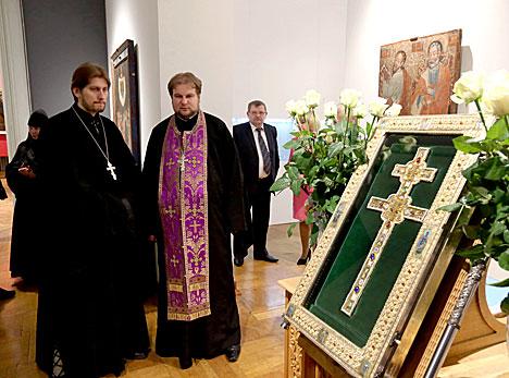 St Euphrosyne of Polotsk Cross on display in Minsk