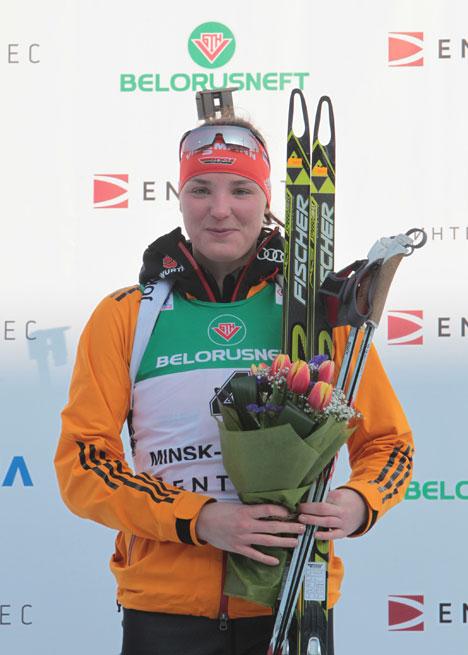 Marie Heinrich won gold in the 10K Junior Women's Pursuit