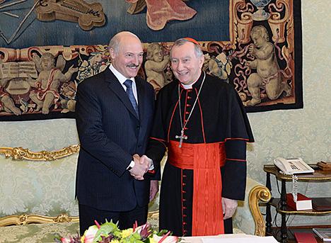 Belarus President Alexander Lukashenko and Secretary of State of the Holy See Cardinal Pietro Parolin