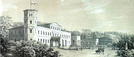The Oginski estate in Zalesye, Smorgon District, engraving by Napoleon Orda