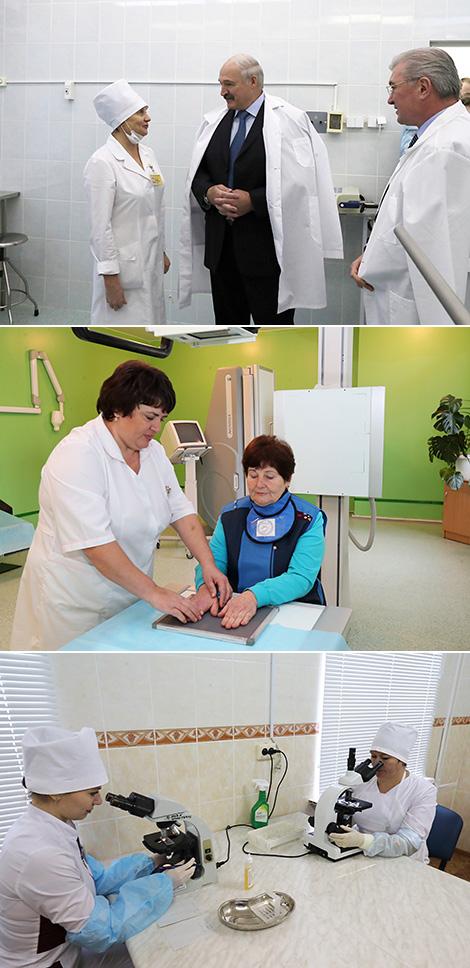 Alexander Lukashenko during a visit to the Buda-Koshelevo Central District Hospital
