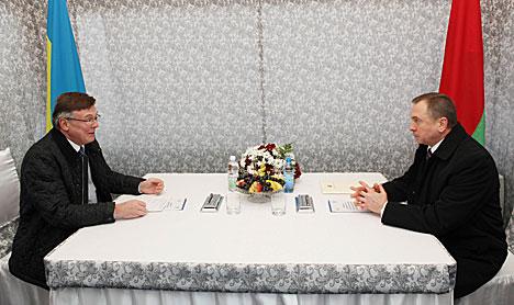 Belarus' Foreign Minister Vladimir Makei and Foreign Minister of Ukraine Leonid Kazhara