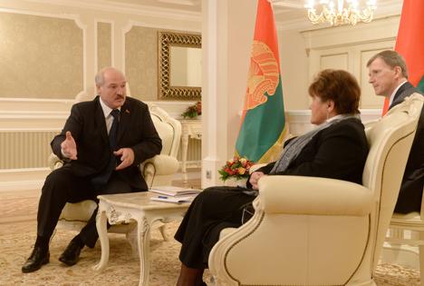 Belarus President Alexander Lukashenko said met with WHO Regional Director for Europe Zsuzsanna Jakab