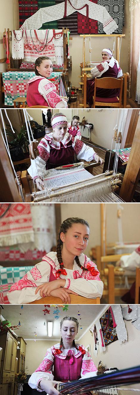 Ученица творческой мастерской Екатерина Сташевская и методист-мастер по ткачеству и плетению поясов Мария Сарнавская