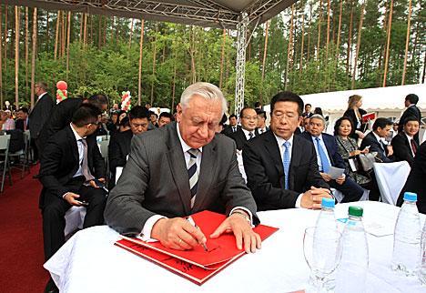 Мясникович на церемонии закладки первого камня Китайско-белорусского индустриального парка