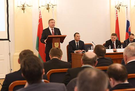 Prime Minister of Belarus Andrei Kobyakov during the Belarusian-Slovakian business forum in Bratislava