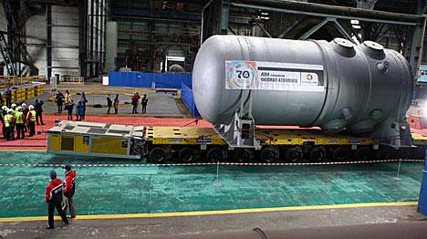 Reactor vessel in transit to Belarusian nuclear power plant