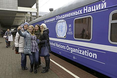 Поезд да 70-годдзя ААН адправіўся ў сямідзённае падарожжа па Беларусі