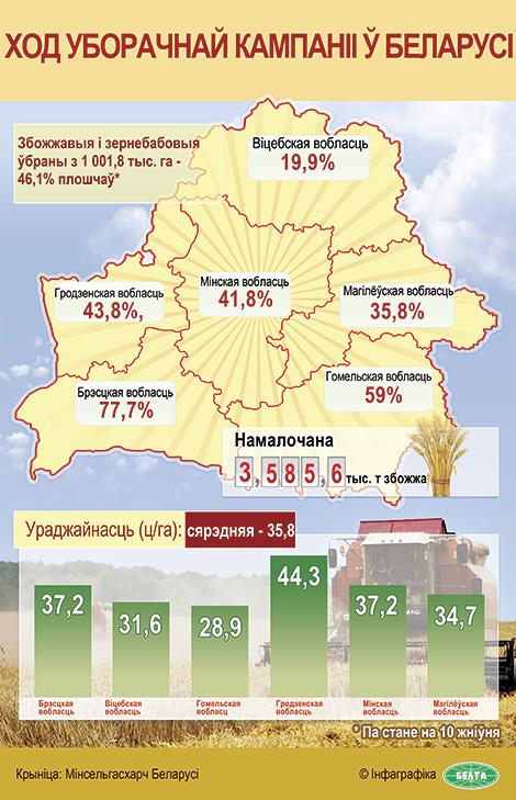 Ход уборачнай кампаніі ў Беларусі