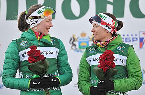 Беларускі Дар'я Домрачава і Надзея Скардзіна на п'дэстале гонару