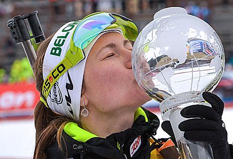 Дар'я Домрачава ўпершыню заваявала Вялікі хрустальны глобус за перамогу ў Кубку свету