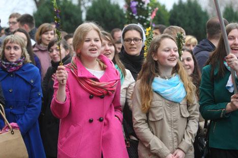 У Беларусі больш за 100 тыс. вернікаў прынялі ўдзел у святкаванні каталіцкай Вербнай нядзелі