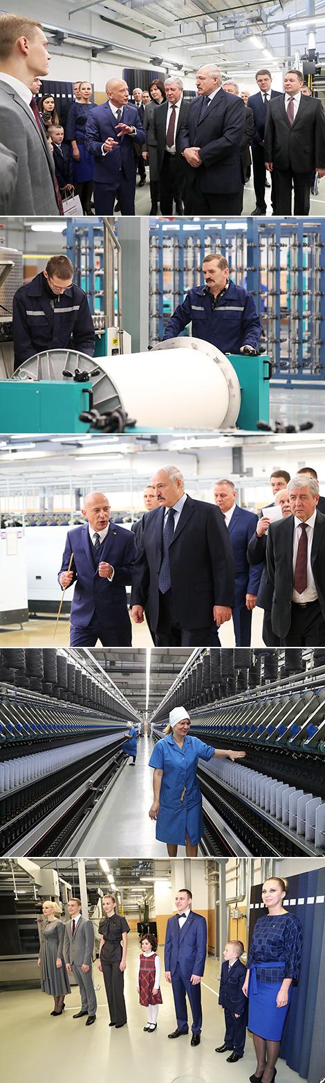 """Лукашэнка даручыў нарасціць аб'ёмы выпуску тканін на """"Камволі"""" да 7-8 млн пагонных метраў"""