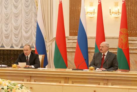 Пуцін: Расія настроена і далей рухацца па шляху раўнапраўнай інтэграцыі з Беларуссю