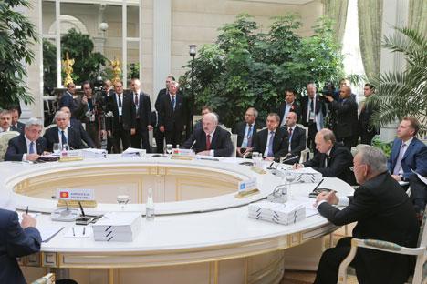 Прэзідэнт Беларусі Аляксандр Лукашэнка на пасяджэнні Вышэйшага Еўразійскага эканамічнага савета