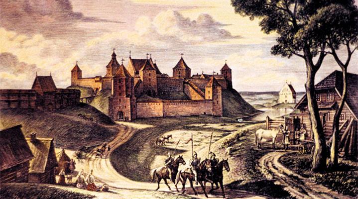 Новогрудский замок в XIV веке. Реконструкция Виктора Стащенюка